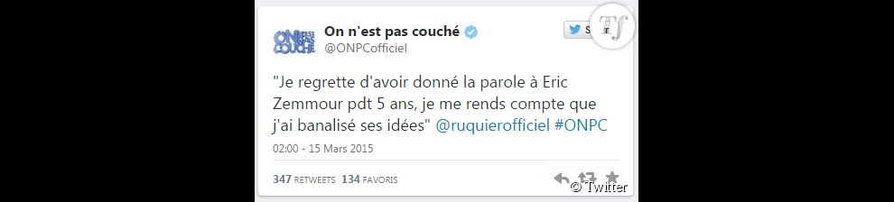 Le tweet du compte officiel onpc samedi 14 mars terrafemina - Retour de couches pendant allaitement ...