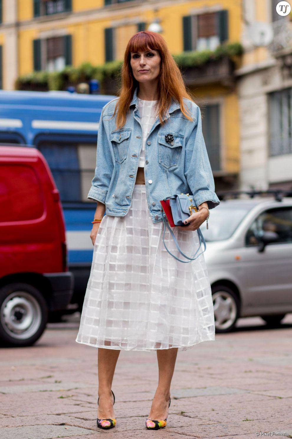 Street Style Printemps T 2015 Jupe Blanche Veste En Jean Et Escarpins