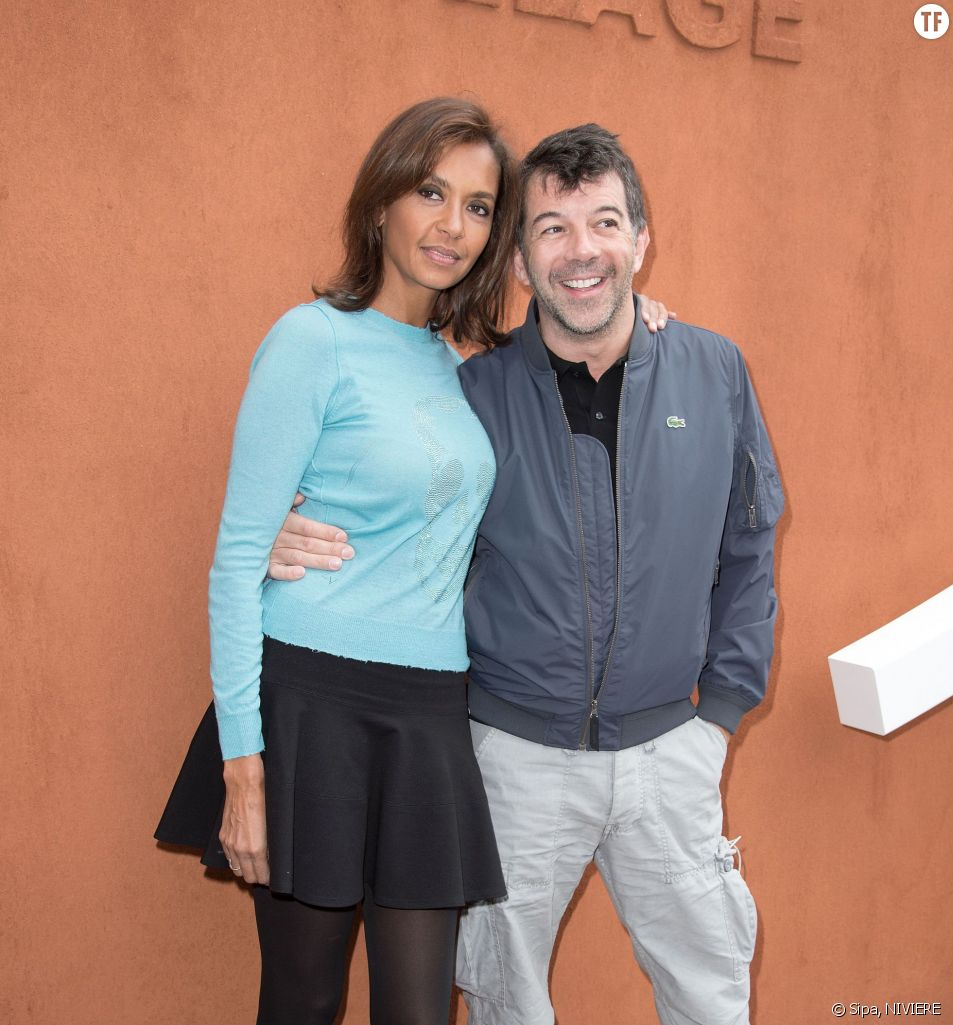 Stpéhane Plaza et Karine Le Marchand à Roland-Garros le 1er juin 2015.
