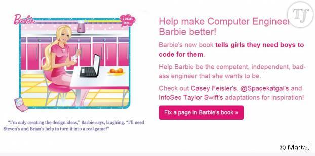 """Barbie ingénieure """"ne crée que les idées"""". """"J'aurais besoin de Steven et Brian pour en faire un vrai jeu"""", affirme-t-elle."""
