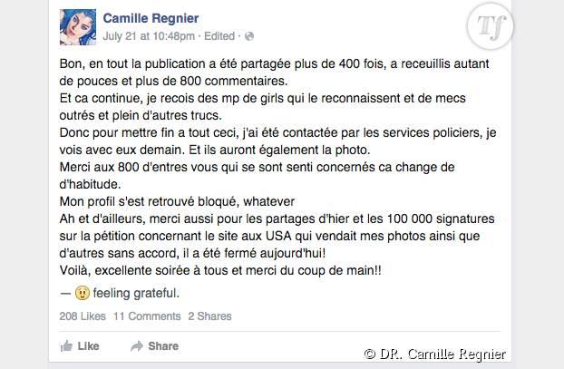 Le poste de Camille Regnier pour remercier les internautes