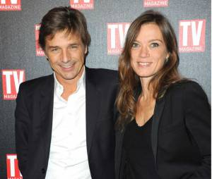 Guy Lagache et sa femme Emilie Thérond pour les 25 ans de TV Magazine à Paris.