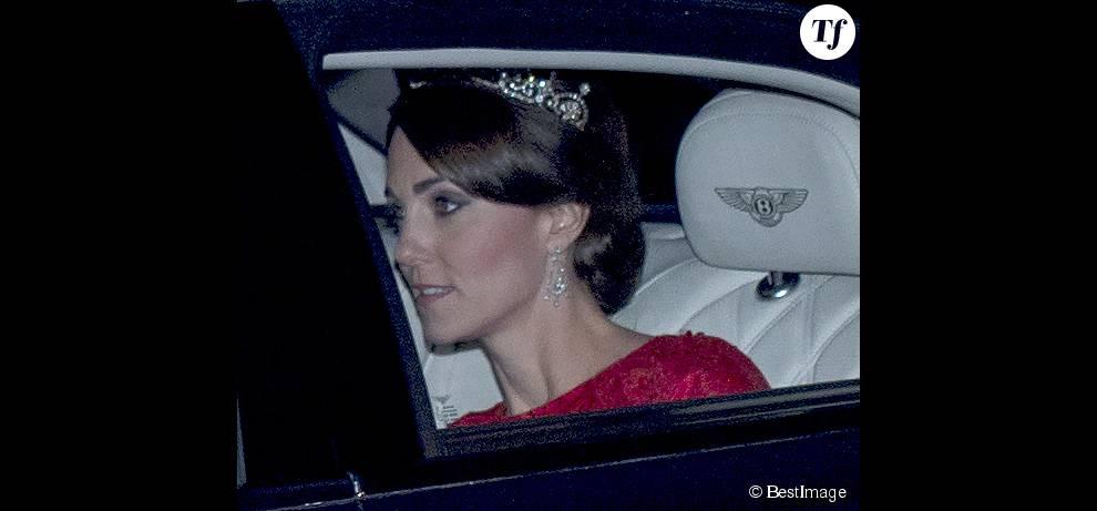 :   La duchesse de Cambridge , Catherine Kate Middleton - Arrivées à Buckingham Palace pour le dîner d'état en l'honneur du président chinois le 21 octobre 2015