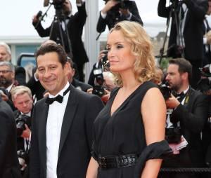 """Laurent Gerra et sa compagne Christelle Lyon - Montée des marches du film """"La Glace et le Ciel"""" pour la cérémonie de clôture du 68 ème Festival du film de Cannes, à Cannes le 24 mai 2015."""