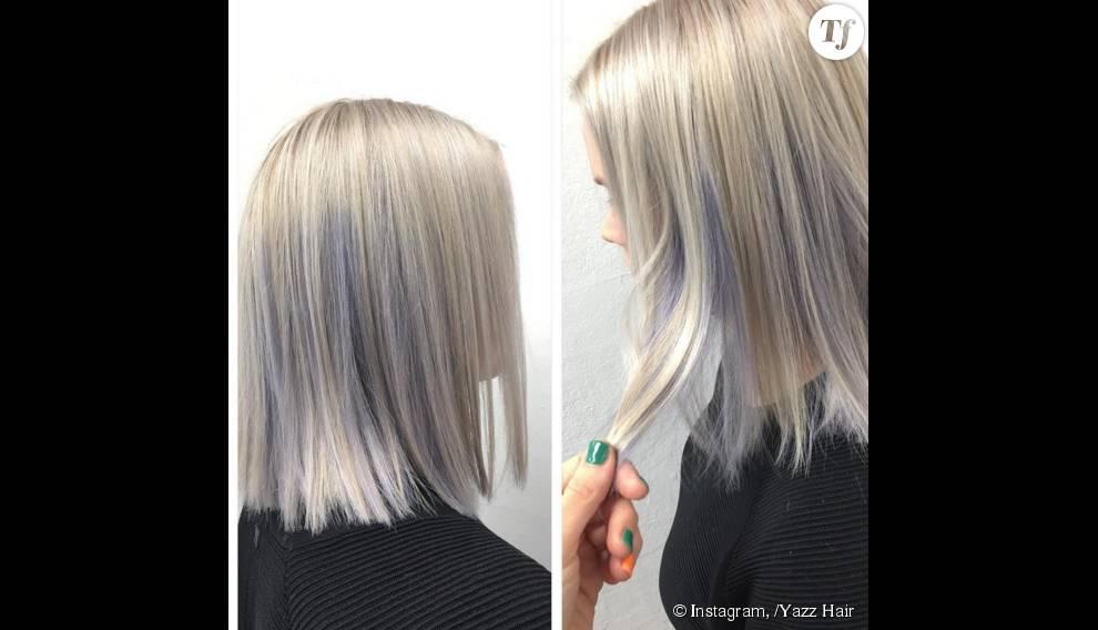 Une jeune femme avec une coloration argentée