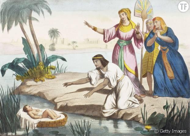 Illustration de l'Ancien Testament représentant l'abandon de Moïse dans un panier en osier