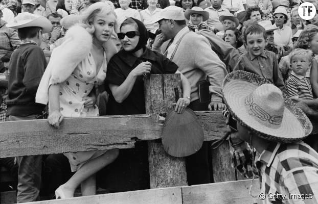 Marilyn Monroe et Paula Strasberg sur le tournage de The Misfits