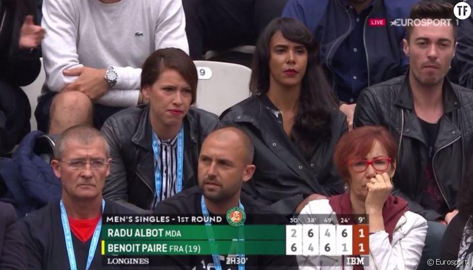 Shy'm dans les tribunes de Roland-Garros pour encourager son compagnon Benoît Paire le dimanche 22 mai 2016