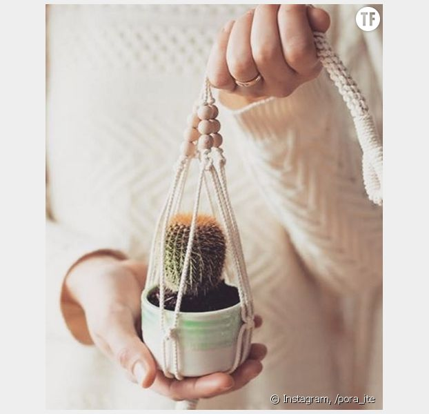 Diy comment fabriquer une suspension pour plante en macram terrafemina - Suspension pot de fleur macrame ...
