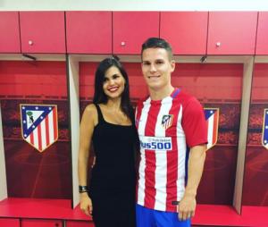 Le footballeur Kevin Gameiro, sa femme Lina et leurs deux enfants