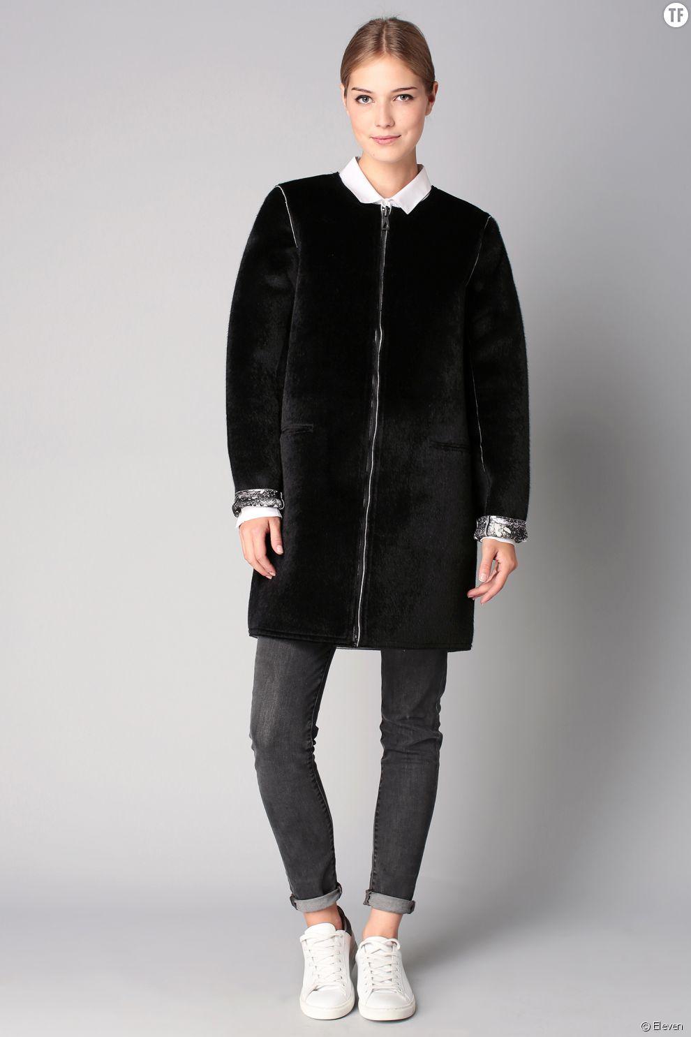 Manteau noir réversible en fausse fourrure Eleven 104,50 euros