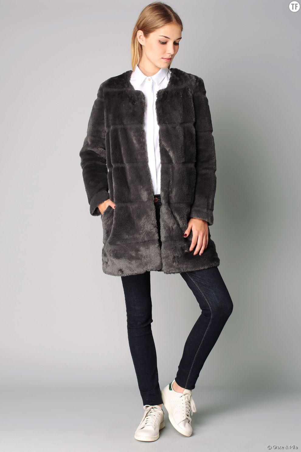 Manteau gris en fausse fourrure Grace & Mila 74,50 euros