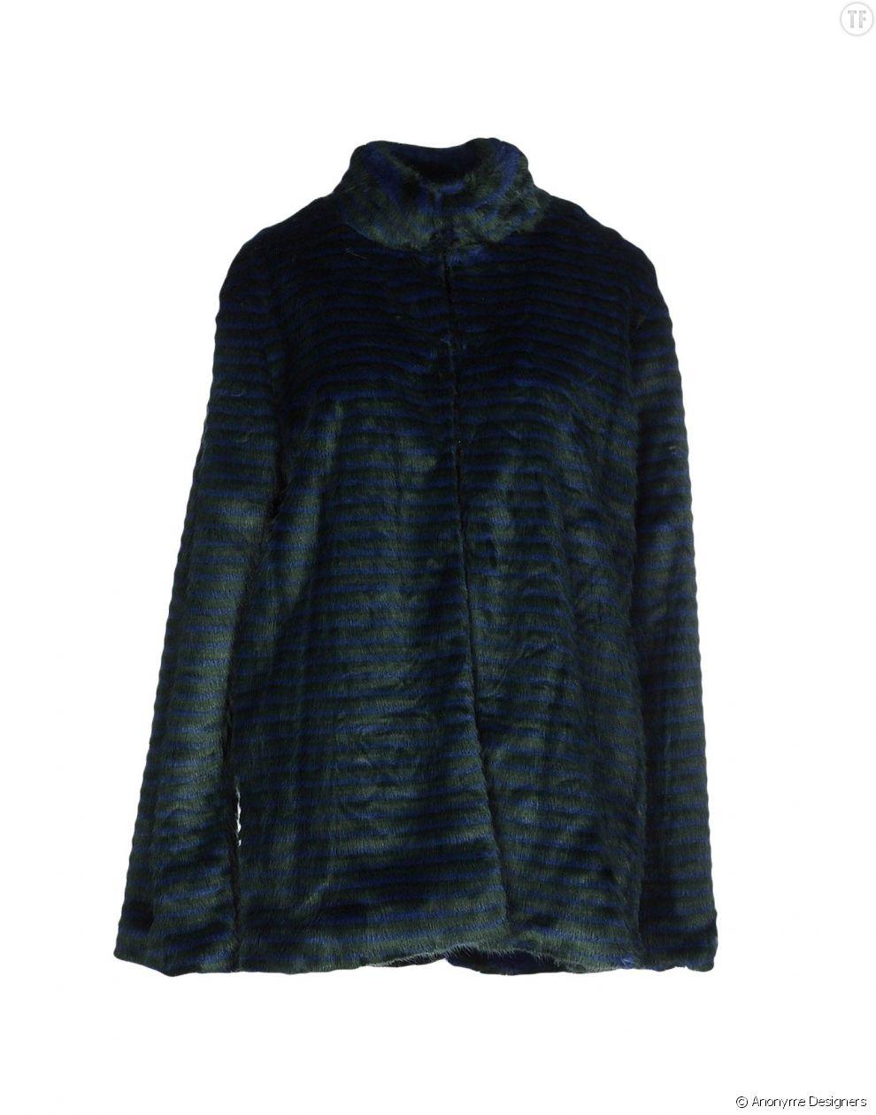 Manteau légèrement strié vert et bleu en fausse fourrure Anonyme Designers 92 euros