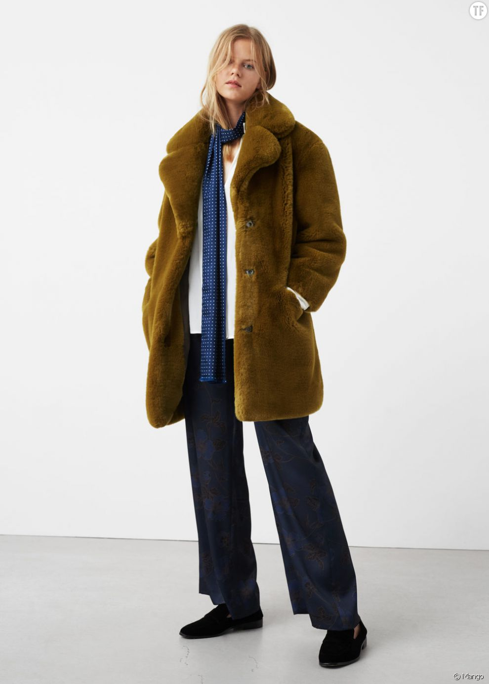 Manteau femme fausse fourrure Moutarde