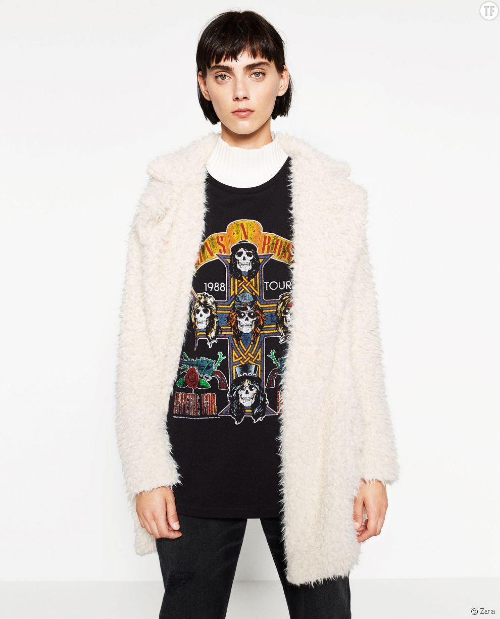 Manteau bouloché en fausse fourrure Zara 59,95 euros