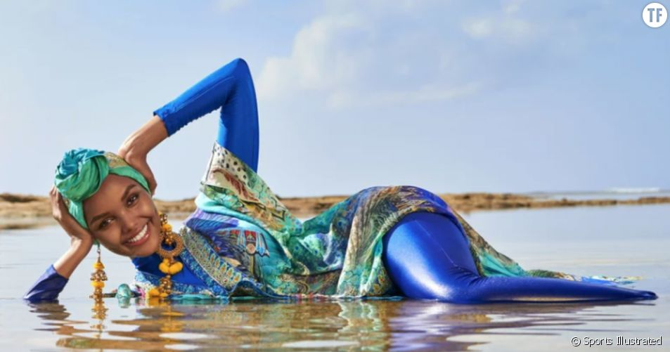 Hamina Aden en hijab et burkini couverture de Sports Illustrated