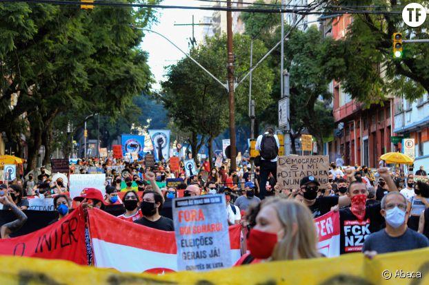 Mobilisation antiraciste et contre Jair Bolsonaro, à Porto Alegre, le 7 juin 2020.