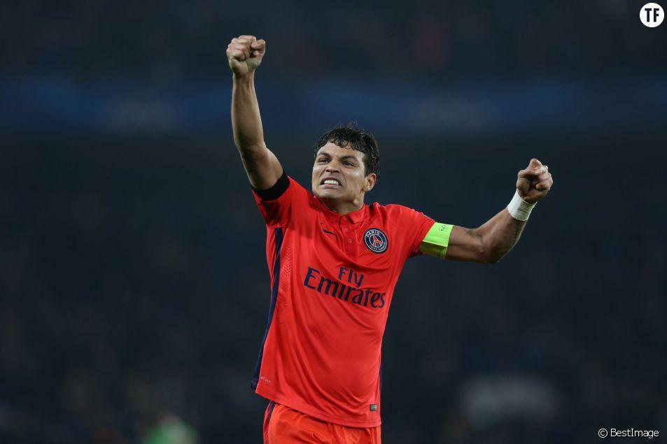 Thiago Silva - Match de l'équipe du Paris Saint Germain (PSG) contre l'équipe de Chelsea pour la 8e de finale retour de Ligue des champions à Londres le 11 mars 2015. Les parisiens se sont qualifiés en arrachant le nul 2-2.