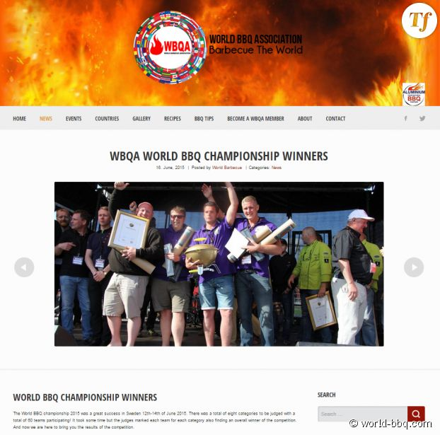 "Capture écran du site officiel de la ""World BBQ Association"""