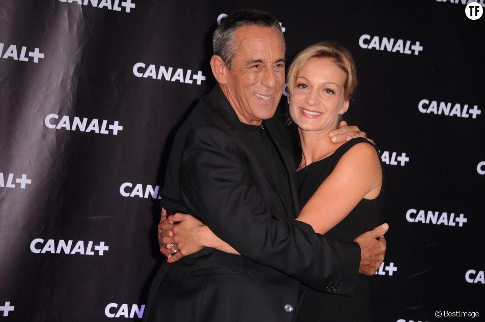 Thierry Ardisson et sa compagne Audrey Crespo-Mara lors de la soiree de rentrée Canal+ organisee a Paris, le 28 août 2013.