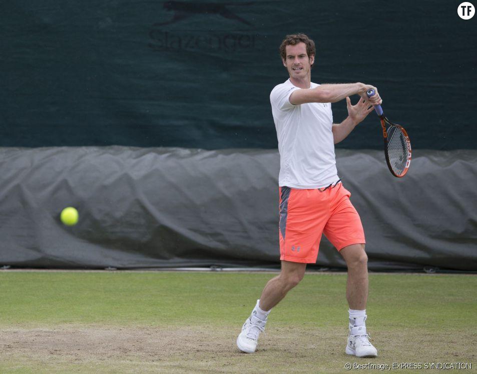 Andy Murray lors de l'entraînement au tournoi de tennis de Wimbledon à Londres, le 28 juin dernier