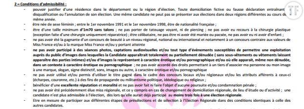 Extrait du règlement Miss France 2017