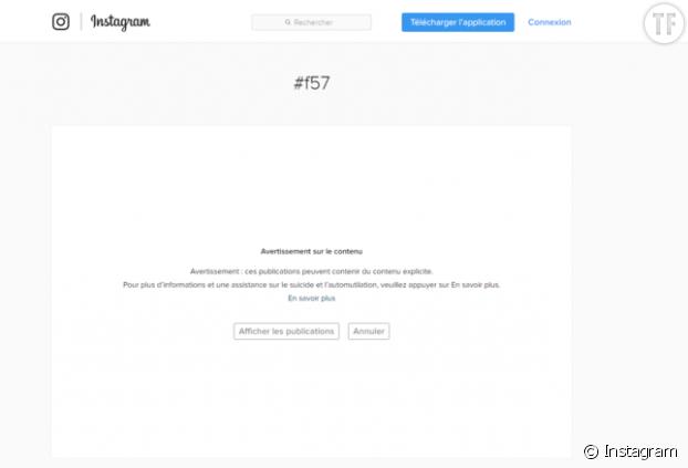 Le message d'Instagram quand on recherche des hashtags en lien avec le Blue Whale Challenge