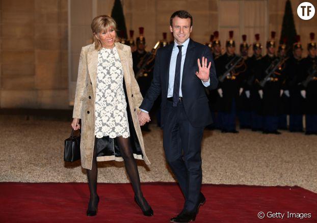 Brigitte et Emmanuel Macron à l'Élysée en mars 2016 pour un dîner d'État donné en l'honneur du roi des Pays-Bas.