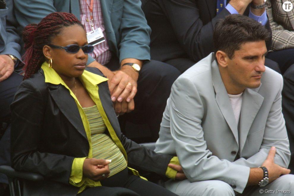 Laura Flessel et son mari Denis Colovis en 2001 à Roland Garros