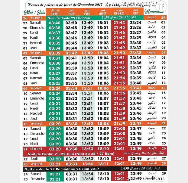 Calendrier du Ramadan 2017