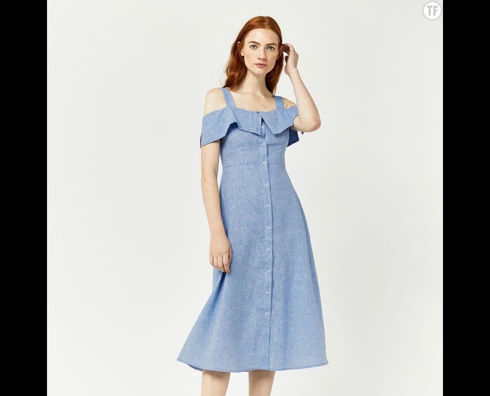 Robe épaules dénudées Warehouse, 64€