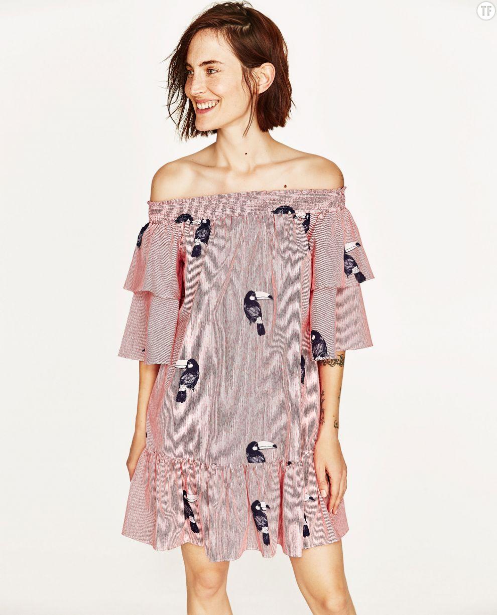 Robe épaules dénudées Zara, 39,95€