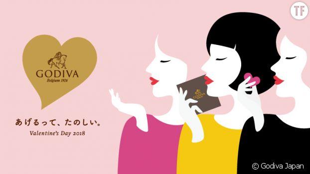 La publicité de Godiva Japan sur Facebook pour la Saint-Valentin