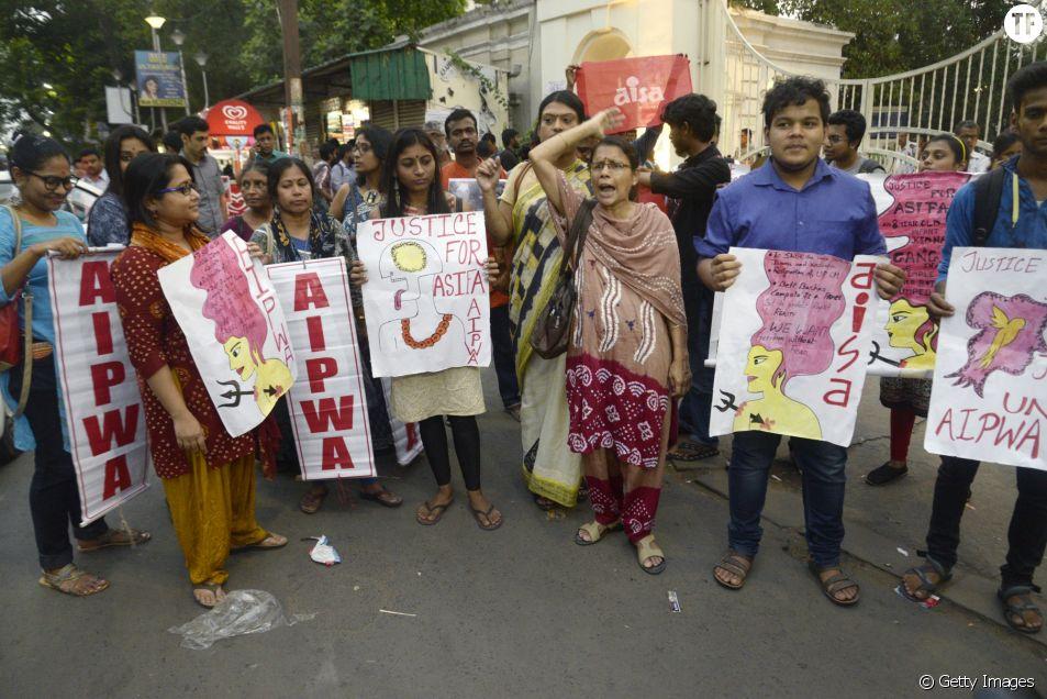 Manifestation en soutien à Asifa Bano, dans la ville de Calcutta, en Inde, 13 avril 2018.