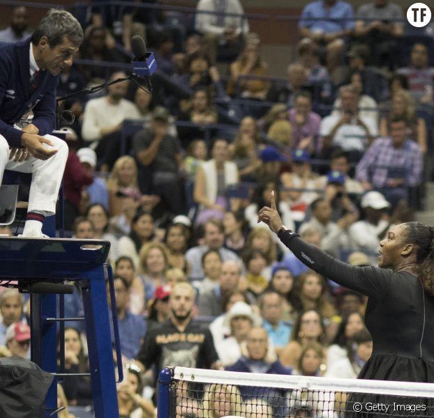 Serean Williams et Carlos Ramos lors de la finale de l'US Open
