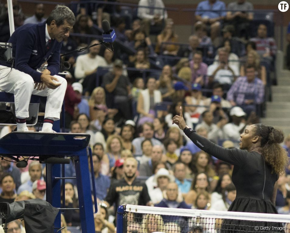 Serean Williams et Carlos Ramos lors de la finale de l'US Open