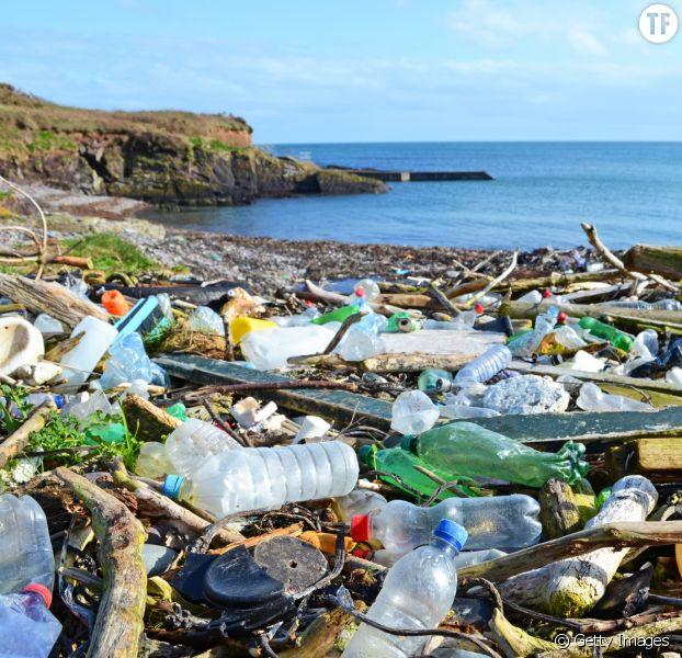 Bouteilles en plastique et autres déchets échoués sur une plage du comté de Cork, en Irlande.