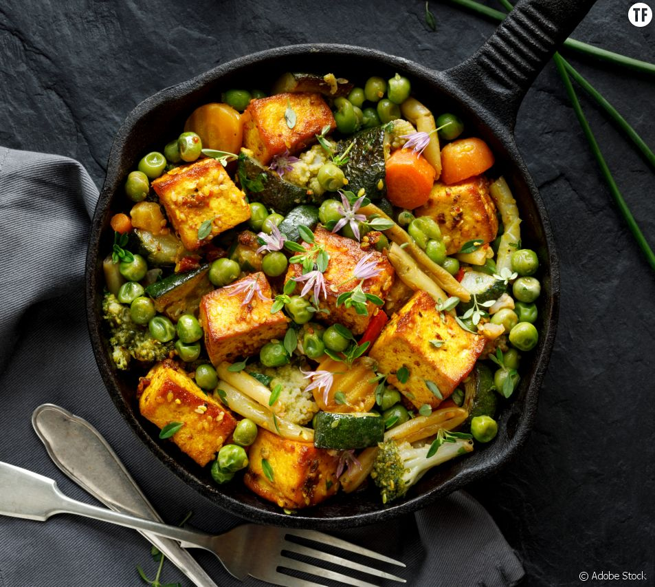 Plat vegan à base de tofu