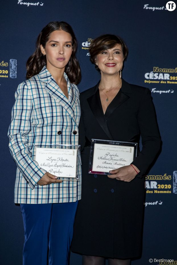 """Lyna Khoudri et Mounia Meddour lors du photocall du """"Déjeuner des Nommés des César 2020, le 9 février 2020."""