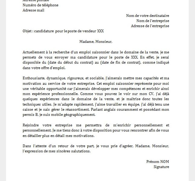 lettre de motivation exemple saisonnier
