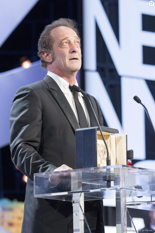 """Vincent Lindon a reçu le prix d'interprétation masculine pour """"La Loi du marché"""" de Stéphane Brizé au Festival de Cannes 2015"""