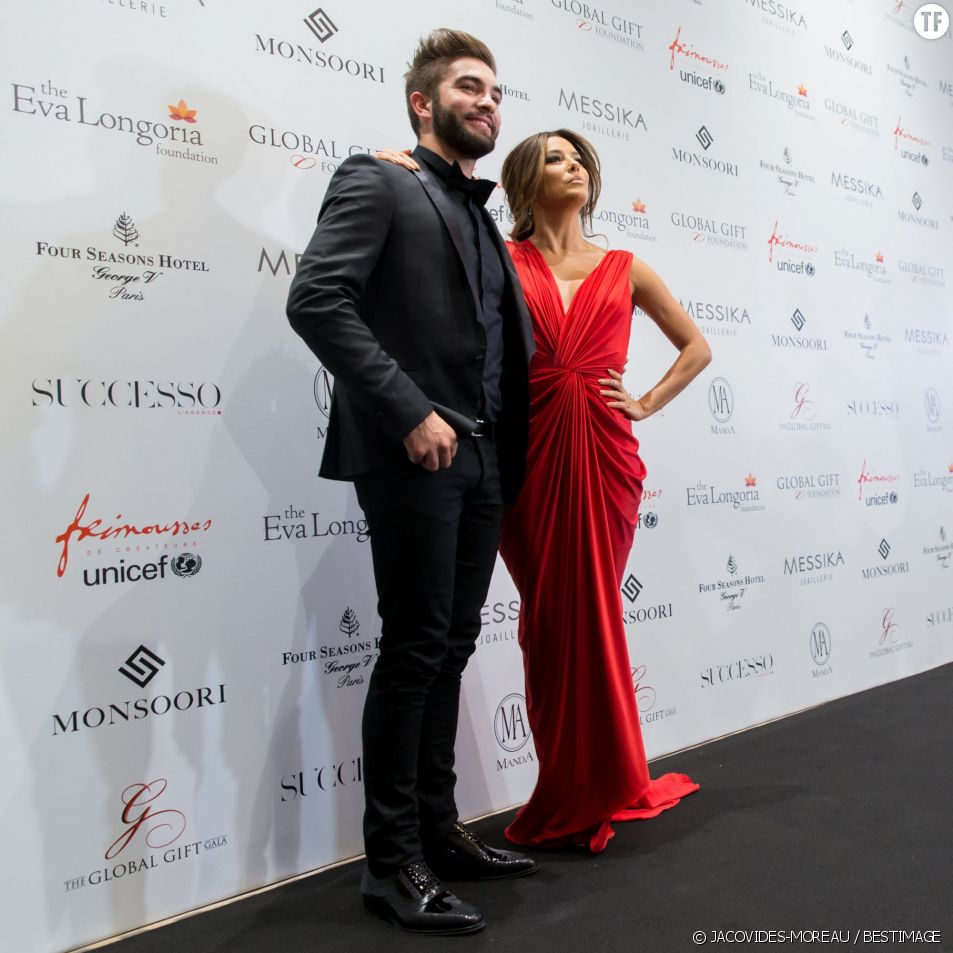 Kendji Girac et Eva Longoria au dîner du Global Gift Gala.