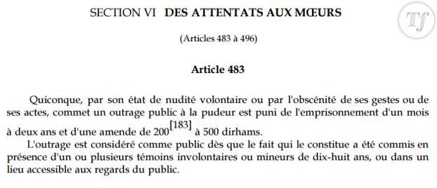 L'article 483 section VI du Code Pénal du Maroc, qui punit l'outrage public à la pudeur.