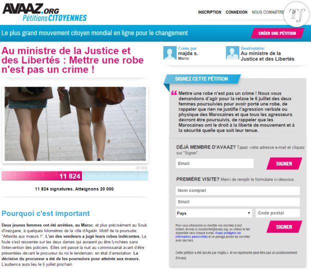 La pétition en ligne sur le site Avaaz.org