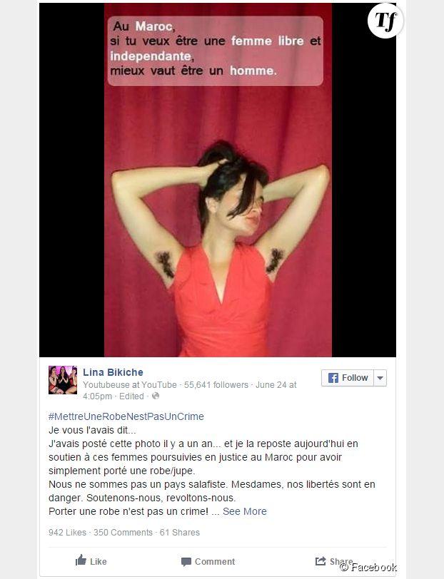 La photo postée par Lina Bikiche en réaction à l'affaire des femmes en robe.