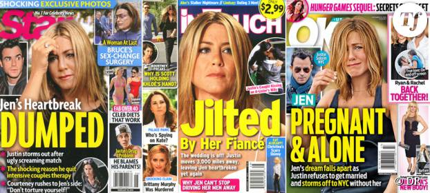 Un échantillon des unes au sujet de Jen et Justin
