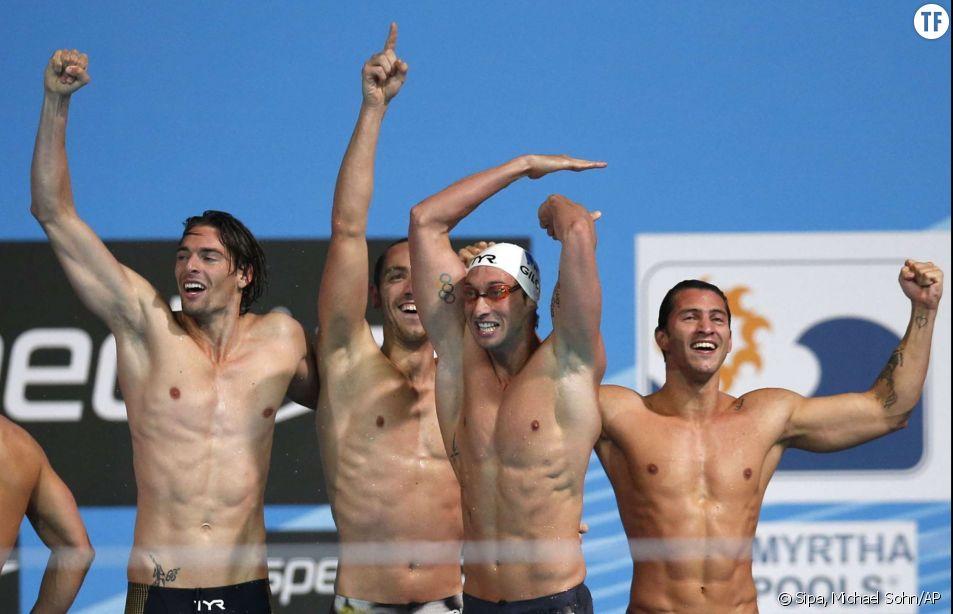 Camille Lacourt, Jeremy Stravius, Fabien Gilot et Giacomo Perez-Dortona médaillés d'or aux mondiaux de Barcelone en 2013