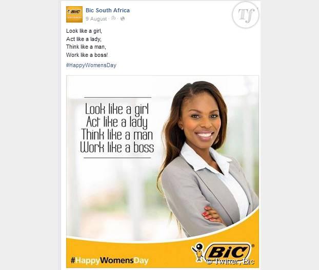 Le tweet de Bic pour la Journée nationale des femmes