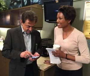 Aisha Tyler et Joe Mantegna sur le tournage de la saison 11.
