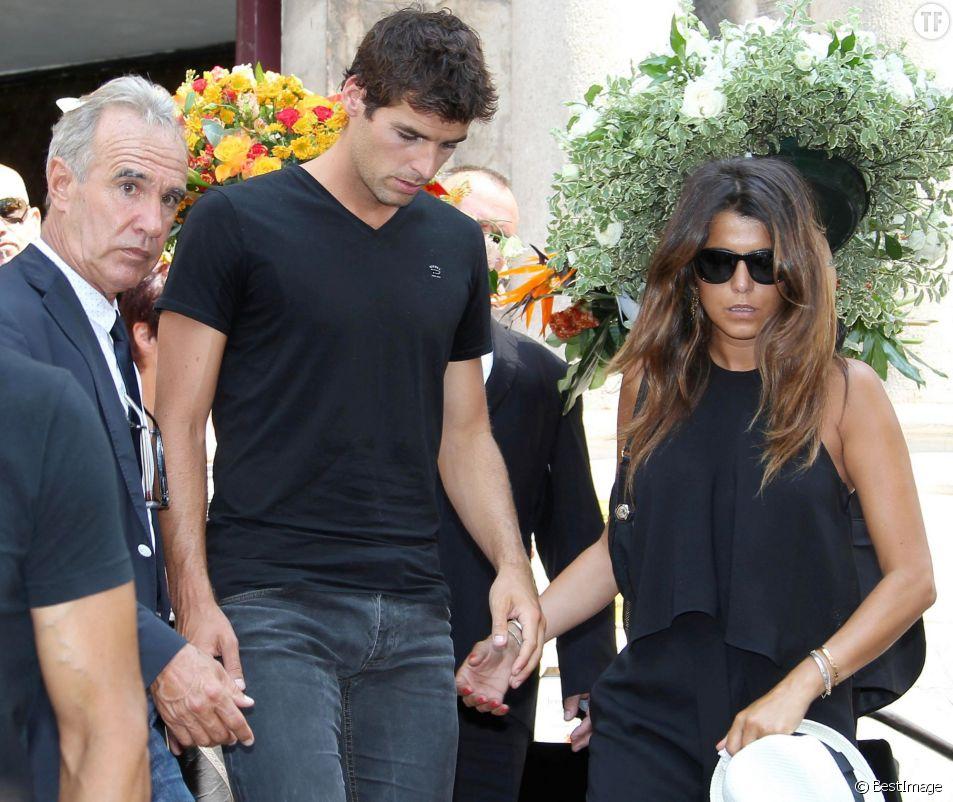 Yoann Gourcuff et sa compagne Karine Ferri - A Cannes, les sportifs rendent un dernier hommage à Tiburce Garou le 10 juillet 2015.